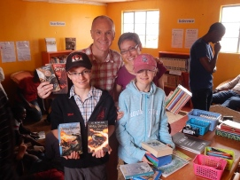 The Whall family, bringing books and support from Ottawa, Canada